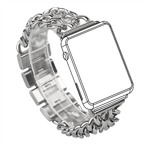Luxury Metal Jewelry Bands for Apple Watch 38mm 42mm Bling Stainless Steel Replacement for (Metal Band Bling Watch)