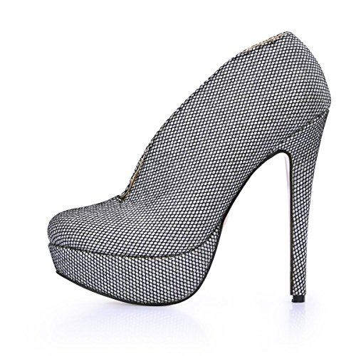High Heels Silver Women's Pointed Glitter 9 Sole Boots Rubber Toe 7CM Ankle Shoes 4U Best Stiletto n40CqUBw0