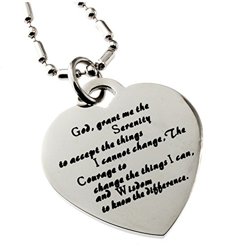 (R.h. Jewelry Stainless Steel Pendant, the Serenity Prayer Heart Necklace)
