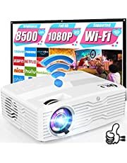 """$199 » 5G WiFi 4K Projector, 8500Lumens Native 1080P Full HD Projector LCD Projector for Outdoor Movies, Wireless Mirroring/4K/Smartphone/TV Stick/HDMI/USB Supported [120"""" Projector Screen Included]"""