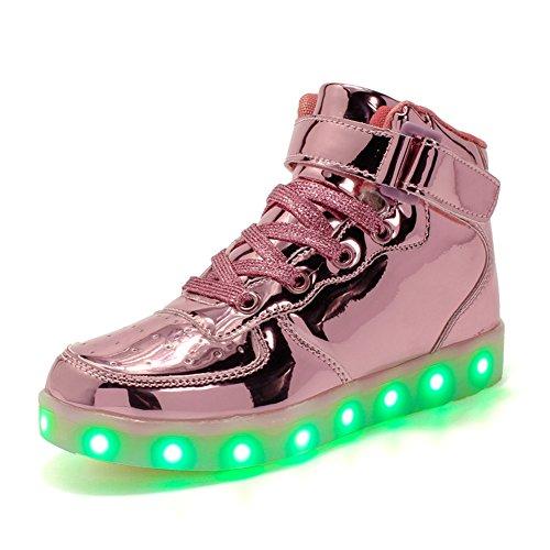 Colori Led Da Bybetty Carica Ginnastica Top Sneakers Luci Unisex Donna Light Scarpe Coppia Up 7 Rosa Caricabatterie Usb 0qFFvErw