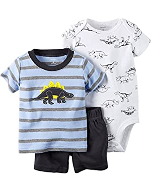 Carters Baby Clothing Outfit Boys 3-Piece Bodysuit & Shorts Set Dino Stripe