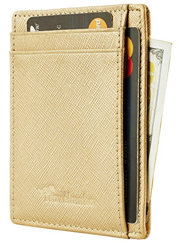 Travelambo RFID Front Pocket Minimalist Slim Wallet Genuine Leather Small Size (crosshatch champagn gold) by Travelambo