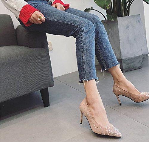 Ajunr Punta puerto luz mate Yoo tornillos conmutar fina y 9cm unos zapatos de tacón de moda rosa Ocio zapatos de mujer 36 Ocasional elegante,Transpirable,Sandalias Mujer 36