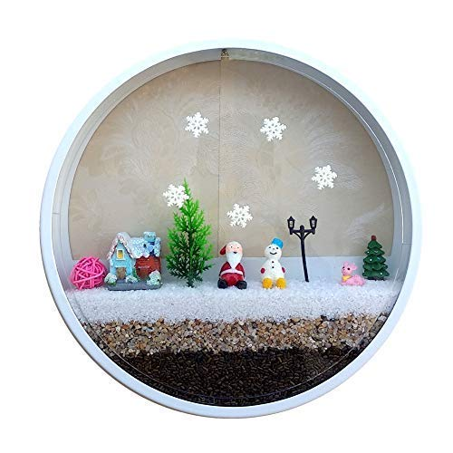 FChome 12 Home Wall Decoration with Christmas Set,Wall Vase Planter Include Santa Claus,Reindeer,Christmas Tree,Snowman,Snow House,Snowflakes,Pink Ball(Diameter-12 inches, White-Christmas)