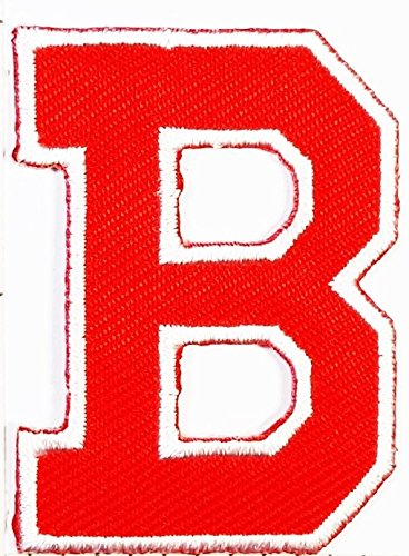 Red B letter patch Symbol Jacket T-shirt Patch Sew Iron on Embroidered Sign Badge Costume. 1.5 x 2 inches.]()