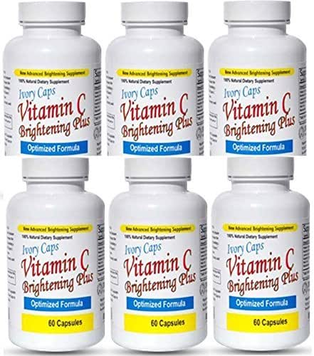 (Pack of 6) Ivorycaps Skin Whitening Lightening Vitamin C Brightening Plus Berberry Extracts