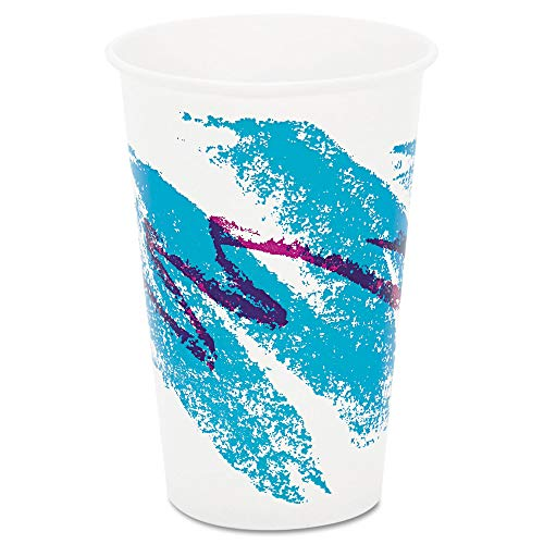 SOLO RW16J Jazz Waxed Paper Cold Cups, 16oz, Tide Design, 1000/Carton 16 Ounce Jazz Design