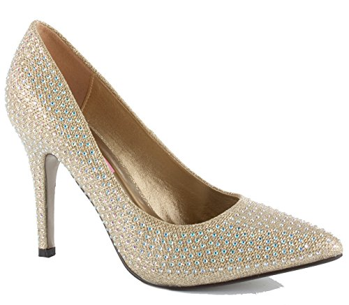 WOMENS LADIES LOW MID HIGH HEEL POINTED COURT SMART PARTY OFFICE WORK STILETTO SHOES PUMPS SIZE Gold Diamante qjtfL