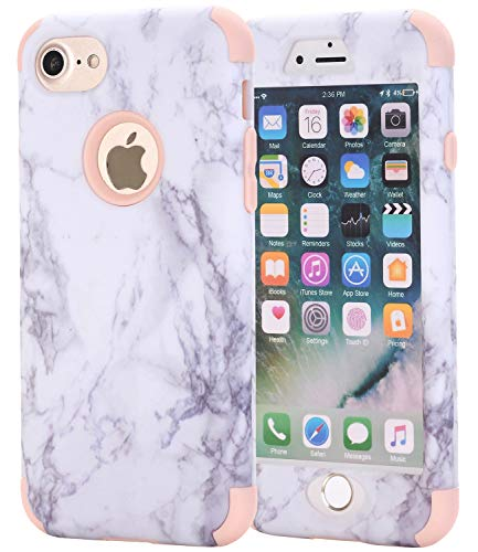 AOKER iPhone 7 Plus Case, iPhone 8 Plus Case, [Marble Design] Three Layer Shockproof Anti-Scratch Full-Body Protective Helmet Defender Protective Case Cove for Apple iPhone 7 Plus /8 Plus (Rosegold)