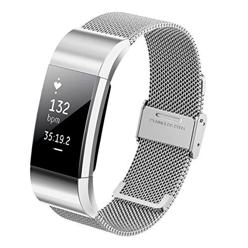 Steel Wristband Bracelet Strap Fitness Monitor Black - 7