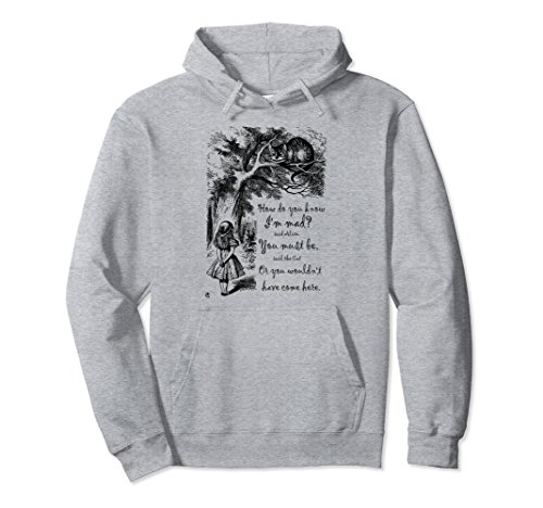 (Unisex Vintage Alice In Wonderland Quote - How Do You Know I'm Mad Large Heather)