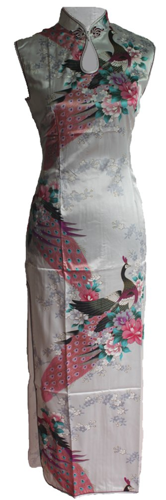 7Fairy Women's Silk White Keyhole Peacock Long Chinese Dress Qipao Size 4 US