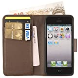 Manhattan Real Leather Full Wallet Case, iPhone 5 5S with Card Holder & Note Pocket in Earth Brown
