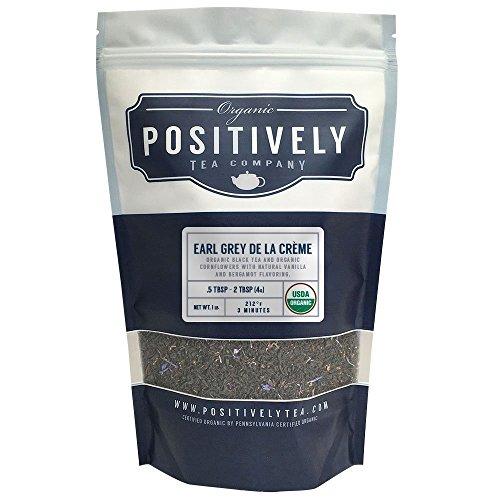 Positively Tea Company, Organic Earl Grey De La Crème, Black Tea, Loose Leaf, USDA Organic, 1 Pound Bag