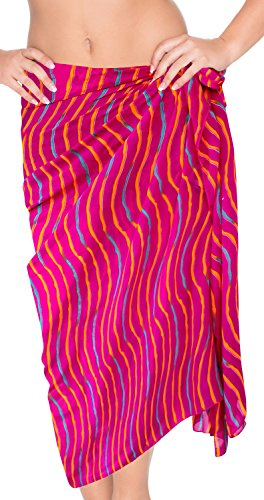 LA LEELA Robe de Maillots de Bain Maillot de Bain Beachwear Wrap Bikini Couvrir Bain Jupe Costume chale Rose_h514