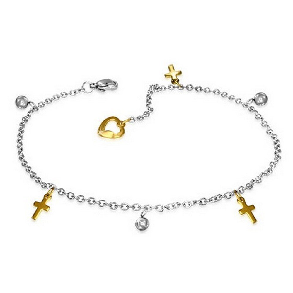 My Daily Styles Stainless Steel Two-Tone Latin Cross Religious Adjustable Anklet Bracelet