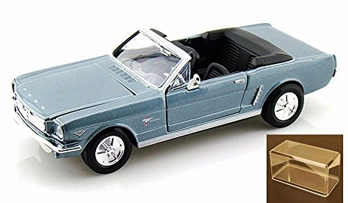 Diecast Car & Accessory Package - 1964.5 Ford Mustang Convertible, Blue - Motormax Premium American 73212 - 1/24 Scale Diecast Model Car w/display case (Mustang Convertible Model)
