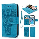 Geniric iPhone 6 Case,iPhone 6S Case, Wallet Case PU Leather Flip Case TPU Cover Embossed Elephant Design Card Slots Cover Wrist Strap Case Shockproof Case Phone Cover for iPhone 6,iPhone 6S -Blue