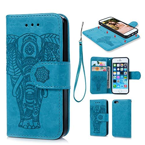 iPhone 6 6S Wallet Case PU Leather Oil Wax Embossed Elephant Flip TPU Case Cover Detachable Wallet Credit Card Slots Magnetic Flap Closure Cover for iPhone 6 6S