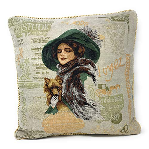 (Tache 2 Pc Square Vinatge Adorable Puppy's Day Out Decorative Lady with Dog Woven Cushion Throw Pillow Cover Set)