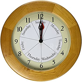 Contemporary Style Day And Time Oak Clock