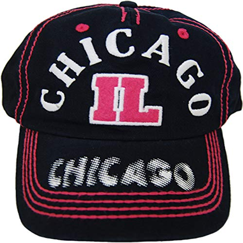 CityDreamShop Selection of Chicago Adjustable Hats and Caps (Pink Patch) ()