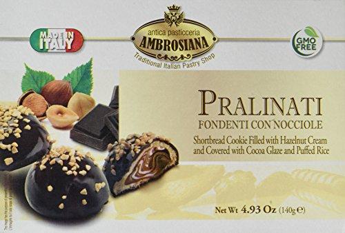 Dolciaria Ambrosiana Pralinati Fondenti Con Nocciole Cookie Filled with Glaze and Puffed Rice, Shortbread with Hazelnut Cream/Cocoa,  4.93 Ounce
