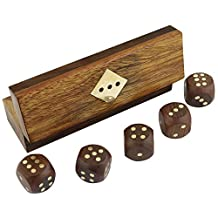 "Indian Handcrafted Wooden Game Dice Set Storage Box Brass Inlay Art - Large Decorative Wooden Dice 5"" x 1.5"" x 1.5"""