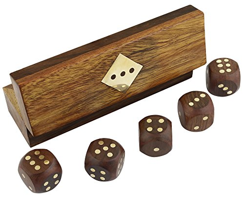 Handmade Indian Dice Game Set with Decorative Storage Box - Includes 20 MM 5 Wooden Dice (Dice Inlaid)