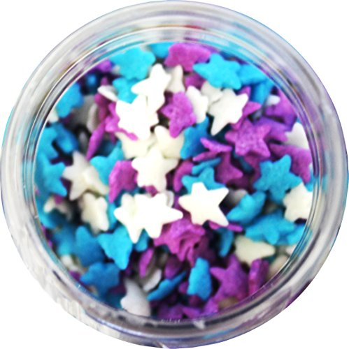 Light Blue, Purple, & White Stars Edible Sprinkles - 8 oz