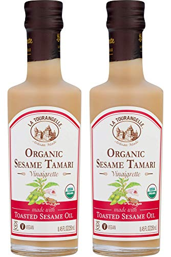 - La Tourangelle Organic Sesame Tamari Vinaigrette, 8.45 fl. oz., 2-Bottle Pack, Salad Dressing and Marinade, Made with Organic Toasted Sesame Oil, Gluten-Free, Low Sodium, Naturally Sugar Free, 2 Count