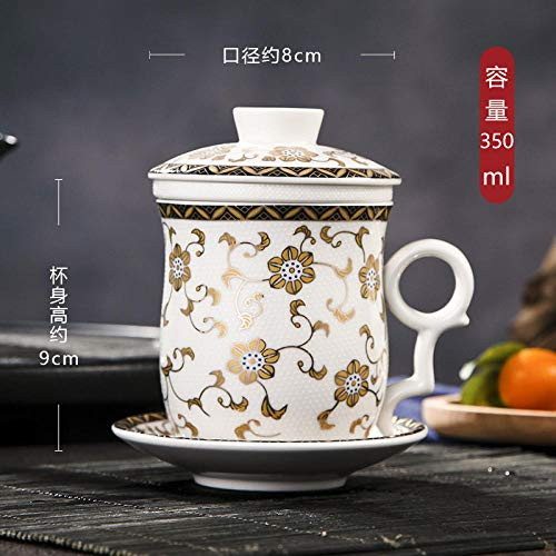 Painted Pattern Chinese Style Tea Cup Ceramic Covered Tea Tea Cup Tea Set - Platinum