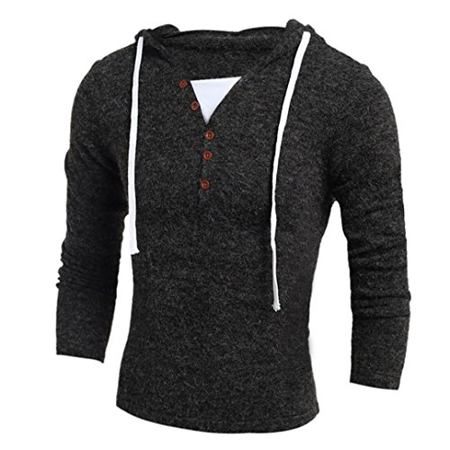 Mchoice Men Autumn Winter Fashion Hooded Sweater Top Blouse (L, Dark Gray)