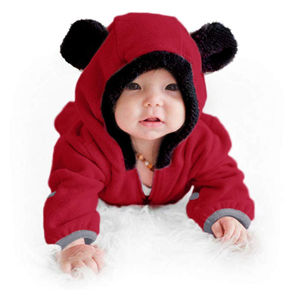 WUAI Baby Clothes Infant Toddler Baby Cartoon Ears Hoodie Romper Christmas Hooded Romper Jumpsuit Outfits