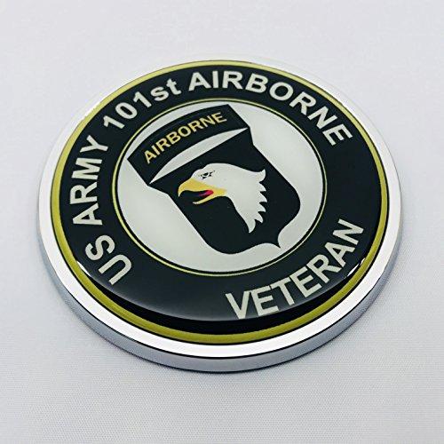 (US ARMY 101ST AIRBORNE VETERAN 3D Domed Emblem Car Sticker Chrome ROUND Bezel)