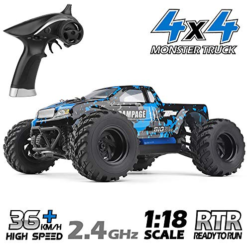 HAIBOXING RC Cars 1/18 Scale 4WD Off-Road Monster Trucks with 36+KM/H High Speed, 2.4 GHz Remote-Controlled Electric All Terrain Waterproof Vehicles with Rechargeable Battery for Kids and Adults RTR (Gas Rc Cars Fast 100 Mph)