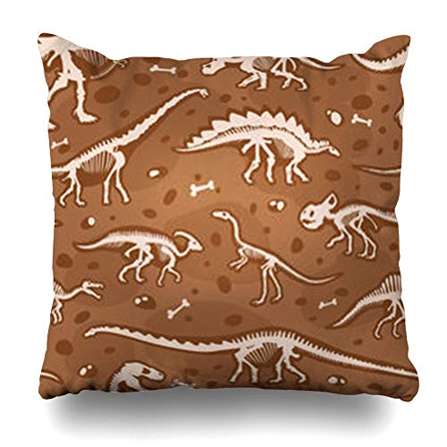 - AileenREE Throw Pillow Covers Dinosaur Jurassic Bones Tyrannosaurus Skeleton Ancient Excavations Fossil Archeology Old Ground Wildlife Pillowcase Square Size 16 x 16 Inches Home Decor Cushion Cases