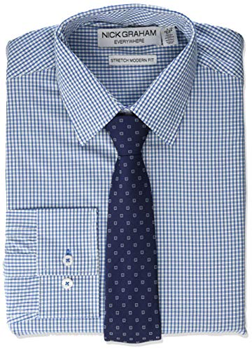 - Nick Graham Men's Stretch Modern Fit Gingham Dress Shirt and Dot Tie Set, Blue, L-L 16-16.5/34-35