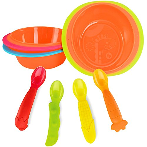 Fisher-Price 4-pack Soft Grip Spoons & 3-pack Heat Sensitive Bowls Set ~ BPA Free