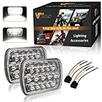 Partsam H6054 7x6 5x7 LED Headlights Sealed Beam Hi/Low w/ H4 Wiring Harness Compatible with Jeep Wrangler YJ XJ, GMC Chevrolet Express S10, Ford Cherokee E250 Toyota Tacoma Mazda Nissan D21
