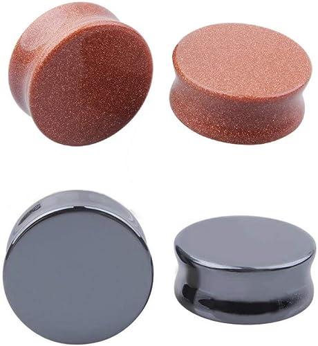"PAIR-Stone Hematite Concave Saddle Flare Ear Plugs 12mm//1//2/"" Gauge Body Jewelry"