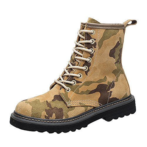 VOCOSI Low Heels Ankle Boots Shoes,Camouflage Print Military Leather Women's Combat Booties Yellow 39 CN (Ankle Front Boot Lacing)