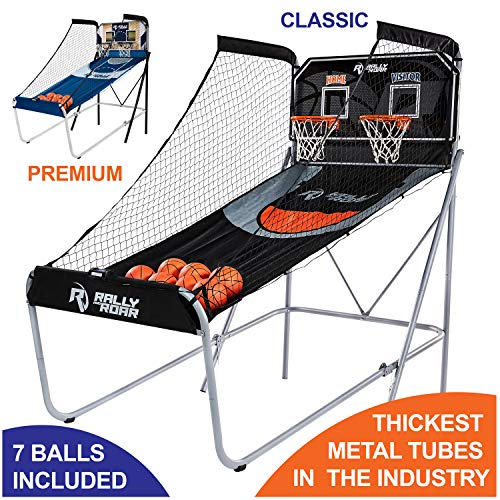 Classic Shootout Basketball Arcade Game, Home Dual Shot with LED Lights and Scorer - 8-Option Interactive Indoor Basketball Hoop Game with Double Hoops, 7 Basketballs, Pump - Foldable Space Saver