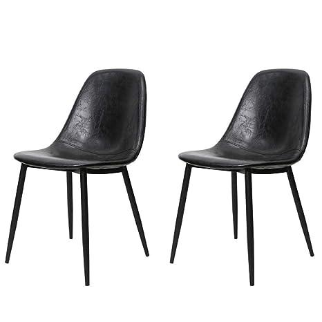 Amazon.com: LHHL - Juego de 2 sillas de bar retro de piel ...