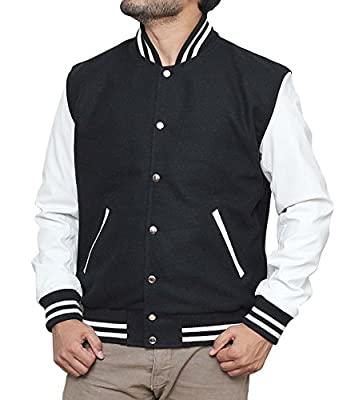 LOUIS MARCO Men's Black & White Bomber Letterman Jacket