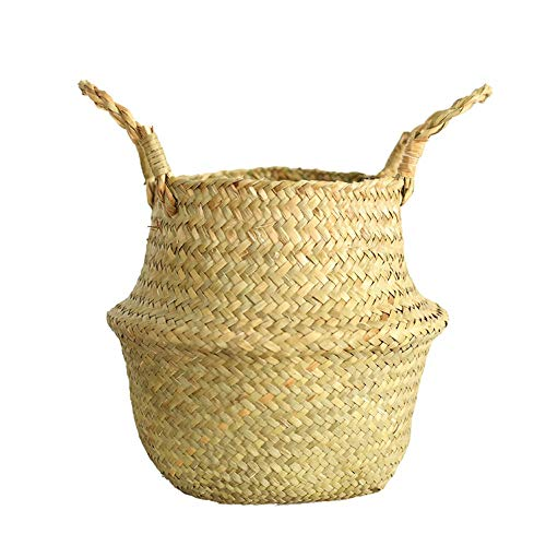 Wicker Straw Basket,Seagrass Wicker Basket Wicker Basket Flower Pot Folding Basket Dirty Basket Storage Home Decoration (Beige)]()