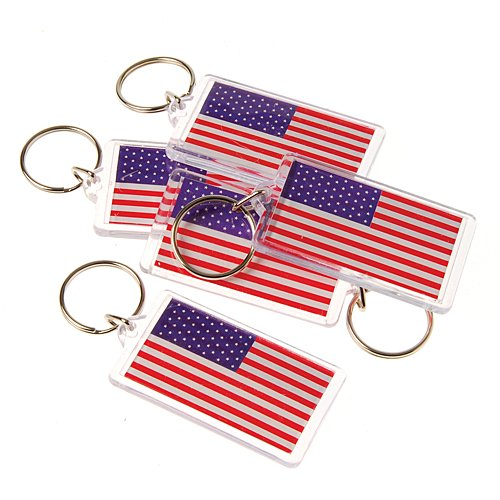 (US Toy USA American Flag Keychain Key Tags (Lot of 12), 2.5
