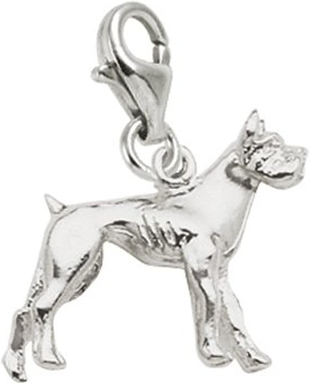Boxer Dog Charm With Lobster Claw Clasp Charms for Bracelets and Necklaces