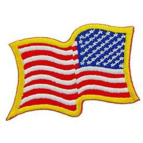USA Stars & Stripes Embroidery Iron On Patch - USA Flag Right Arm Backwards (Stripes Applique Flag)